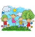 Cartoon little kids jumping and dancing together vector image vector image
