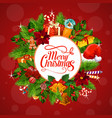 christmas gifts on wreath greetings vector image vector image