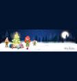christmas poster design winter forest landscape vector image vector image