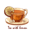Colored hand drawn cup of tea with lemon vector image