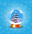 crystal snow globe with cute snowmen and fir tree vector image vector image