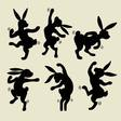 Dancing rabbit silhouette vector image