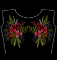 embroidery patch fashion neckline flowers vector image vector image