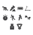 flat black running icon set vector image vector image