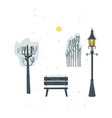 flat streetlight bench tree bush icon vector image