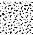 Footprints of human cat dog birds black and vector image
