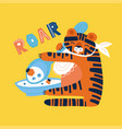 fun tiger with spoon and plate eating porridge vector image