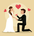 groom giving ring bride lovely vector image vector image