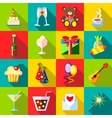 Happy Birthday icons set flat style vector image vector image