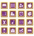 kindergarten symbol icons set purple vector image vector image