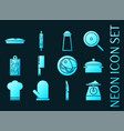 kitchen set icons blue glowing neon style vector image