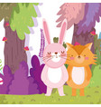 little fox and rabbit cartoon character forest vector image vector image