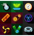 machinery gear icons set flat style vector image vector image