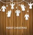 Merry Christmas Greeting Card - Angels vector image vector image