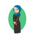 muslim girl holding book education concept card vector image vector image