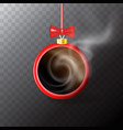 new year drink collage with red round mug of hot vector image