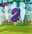 Number two with 2 butterflies in garden vector image