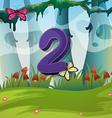 Number two with 2 butterflies in garden vector image vector image