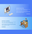 online education and distance learning info page vector image