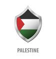palestine flag on metal shiny shield vector image vector image
