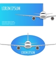 Passenger plane on white - blue background vector image vector image