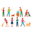 people with pets playing with dog happy pet and vector image