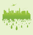 plane above the city on a green vector image vector image