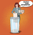 pop art business woman shredding paper documents vector image vector image