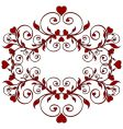 red floral ornament with hearts vector image vector image
