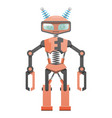 red robot with pincer hands and two horns art icon vector image vector image