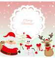 Santa Claus reindeer snowman on pink background vector image vector image