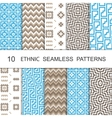 Seamless Ethnic Pattern Set Ten Tribal Tiled vector image vector image