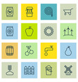 set of 16 planting icons includes windmill vector image vector image