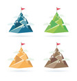 set of flag on the mountain peak vector image vector image