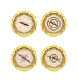 Set of golden compasses vector image vector image