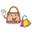 shopping hand bag character cartoon vector image