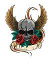 skull symbol tattoo design crown laurel wreath vector image vector image