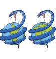 snake around globe vector image