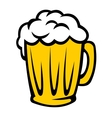 Tankard full of golden frothy beer vector image vector image