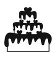 Valentine Day cake simple icon vector image