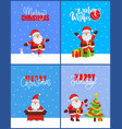 warm wishes and merry christmas 2019 posters set vector image vector image