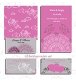 wedding set of invitation and vector image