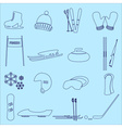 winter sports and equipment outline icons eps10 vector image vector image
