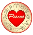 zodiac sign Pisces for lovers on Valentine vector image vector image