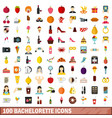 100 bachelorette icons set flat style vector image vector image