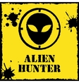 alien hunter logo on red yellow vector image vector image