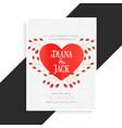 beautiful heart wedding card design vector image