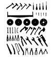 Big tools silhouette set vector image vector image