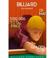 Billiards tournament poster with playing man vector image