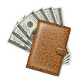 brown leather wallet with dollars on white